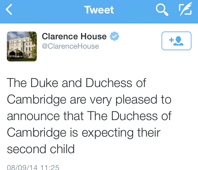 William e Kate d'Inghilterra annunciano il secondo Royal Baby!